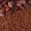 Stock Photo: Cocobeans and grated chocolate background
