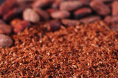 Cocoa beans and grated chocolate background, shallow dof — Stock Photo