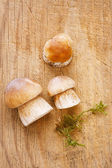 Cep mushrooms on kitchen wooden board, for cooking — Stock Photo