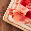 Stock Photo: Platter of serrano jamon Cured Meat, Ciabatta, chorizo
