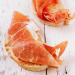 Stock Photo: Serrano jamon Cured Meat and ciabatta