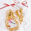 Gingerbread girl cookie gift in clear bag — Stock Photo