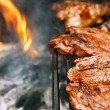Food meat - chicken and beef on party summer barbecue grill — Stock Photo