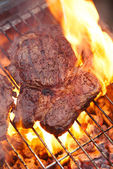 Food meat - rib eye beef steak on party summer barbecue grill wi — Stock Photo