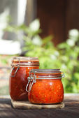 Jar of home made classic spicy Tomato salsa — Stock Photo