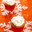 Festive cupcakes, snowflake, red golden glitter — Stock Photo #35756443