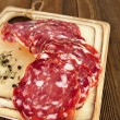 French salami with black peppercorn and fennel spices — ストック写真