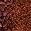 Stock Photo: Cocobeans and grated chocolate background on black