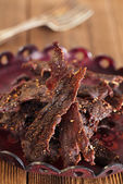 Jerky beef - homemade dry cured spiced meat — Stock Photo