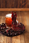 Jerky beef with beer - homemade dried cured spiced meat — Stock Photo