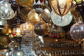 Moroccan glass and metal lanterns lamps — Stock Photo