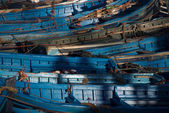 Blue fishing boats  in Essaouira harbor — Stock Photo