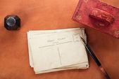 Vintage red leather ink blotter — Stok fotoğraf