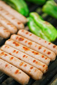 Sausages on barbecue grill party. — Stock Photo