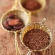 Hot chocolate flakes with chilli flavor in old rustic style silv — Stock Photo #48895029