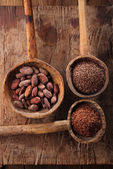 Cocoa beans, hot chocolate flakes and grated dark chocolate in o — Stock Photo