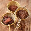 Hot chocolate flakes with chilli flavor in old rustic style silv — Stock Photo #48962187