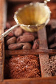 Cocoa powder in old spicy box — Stock fotografie
