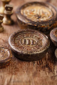 Vintage brass kitchen weights — Stock Photo