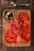 Platter of serrano jamon Cured Meat — Foto Stock