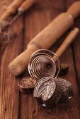 Retro kitchen cookies mould utensils tools — Stock Photo