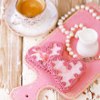 Red heart cookies and espresso — Stock Photo #51143457