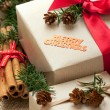 Stock Photo: Christmas gift boxes and decorations, rustic style