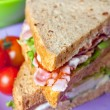 Sandwiches with bacon, lettuce and tomato with malted bread, clo — Stok fotoğraf