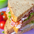 Sandwiches with bacon, lettuce and tomato with malted bread, clo — Foto Stock