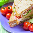Sandwiches with bacon, lettuce and tomato with malted bread, clo - Stock Photo