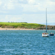 North Berwick golf course, view from the sea - Stock Photo