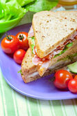 Sandwiches with bacon, lettuce and tomato with malted bread, clo — Stock Photo