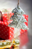 Christmas decorations: handmade rustic christmas tree, gift boxe — Stock Photo