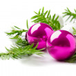 Bright christmas composition with baubles isolated on white — Stock Photo