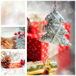Collage with Christmas tree and decorations — Stock fotografie