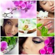 Collage of beauty, makeup and spa theme photos — Stock Photo