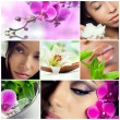 Collage of beauty, makeup and spa theme photos - Stock Photo