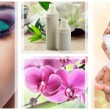 Beauty, spa and cosmetics collage with flowers - Stock Photo