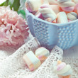 Pastel colored marshmallows in a bowl, closeup shot, toned photo — Stock Photo #43993569