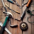 Постер, плакат: Set of old hand tools on wooden table work or DIY hobby concept