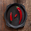 Two fresh chilli peppers, big and small, on an old tray — Zdjęcie stockowe