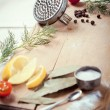 Kitchen utensils, spices and herbs for peeling and cooking fish, — Stock Photo