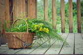 Basket of wild flowers and grass and old pruning shears on count — Stock Photo