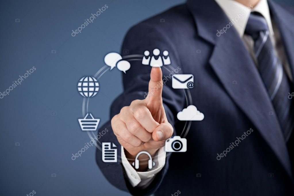 Social media concept - businessman click on virtual icon representing social media. Horizontal composition, blue background, selective focused on hand. — Stock Photo #18270473