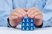 Kunde oder mitarbeiter-pflegekonzept — Stockfoto