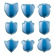 Vector set of blue shields — Stock Vector