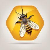 Vector working bee on honeycell — Stock Vector