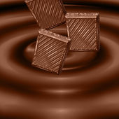 Falling chocolate bars — Stockfoto