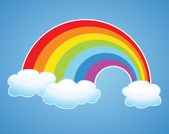 Vector rainbow and clouds in the sky — Stock Vector