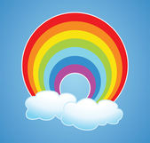 Vector rainbow and clouds — Stock Vector